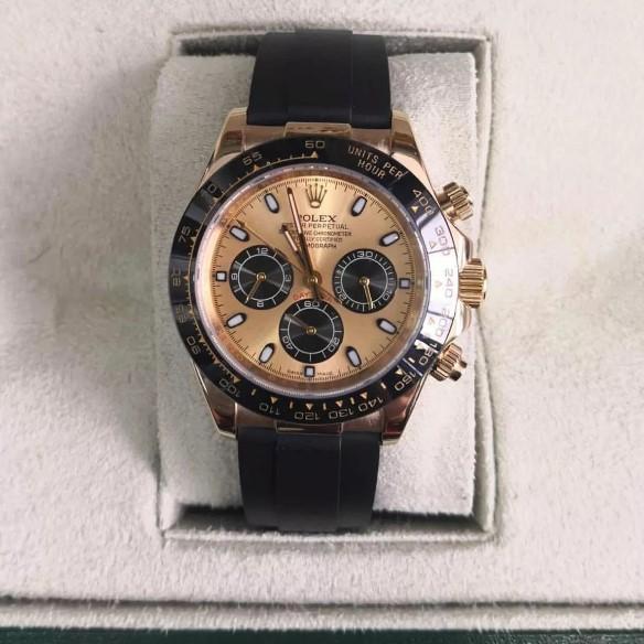 Réplica de relógio Rolex Daytona Borracha Dourado
