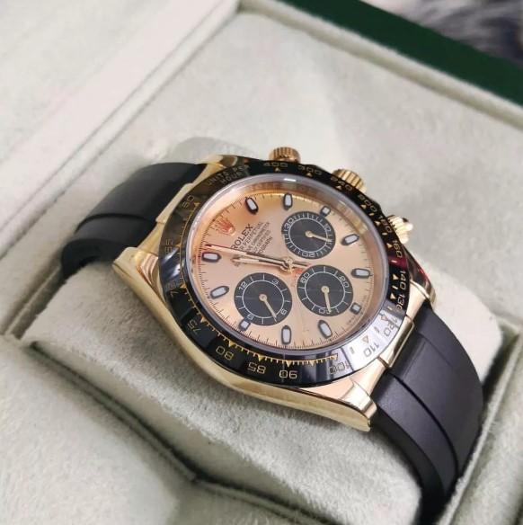 Réplica de relógio Rolex Daytona Borracha Dourado 4