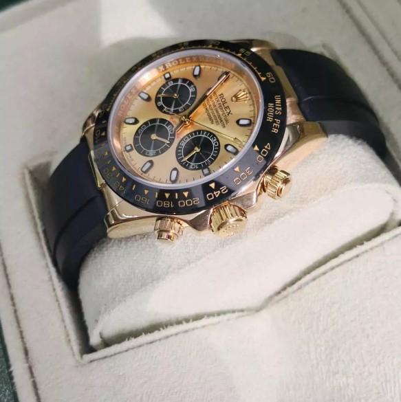 Réplica de relógio Rolex Daytona Borracha Dourado 3