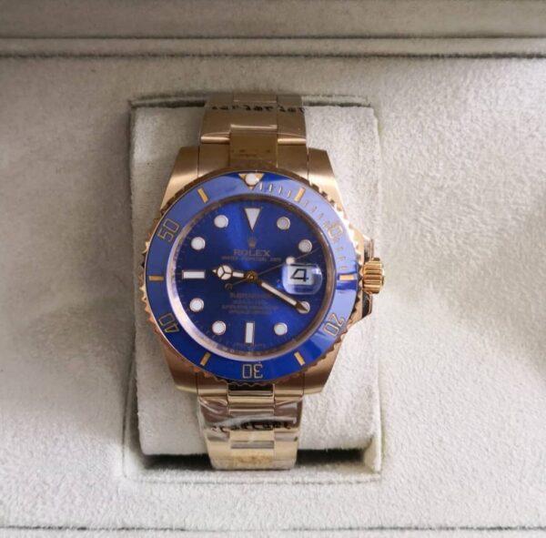 Réplica de relógio Rolex Submariner – Dourado/azul 5