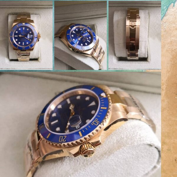 Réplica de relógio Rolex Submariner – Dourado/azul 6