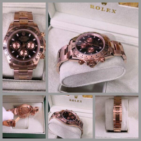 Réplica de relógio Rolex Daytona Rosê/Preto 2