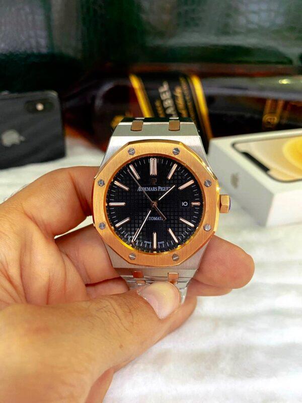 Réplica de relógio Audemars Piquet Royal Automático – Prata/Preto