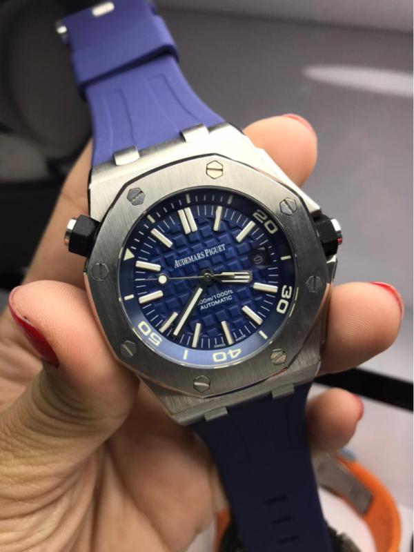 Réplica de relógio Audemars Piquet Royal Borracha – Prata/Azul