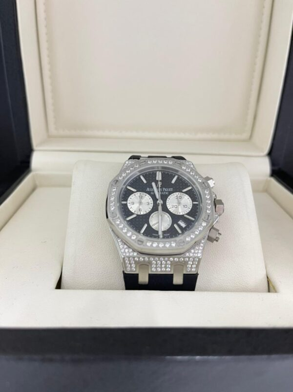 Réplica de relógio Audemars Piquet Royal Borracha com Pedras – Preto/Branco
