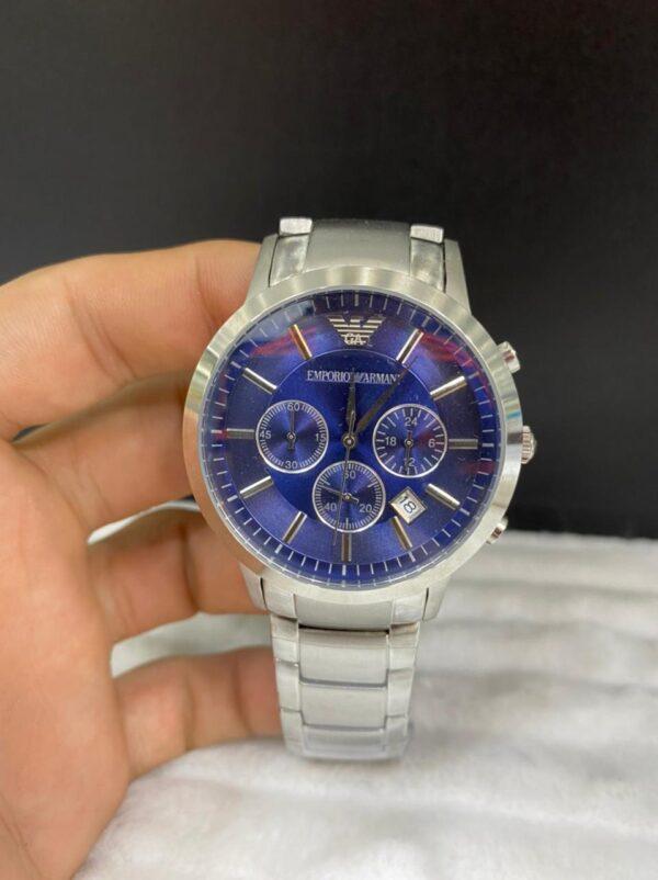 Réplica de relógio Armani Aço Crono – Prata/Azul