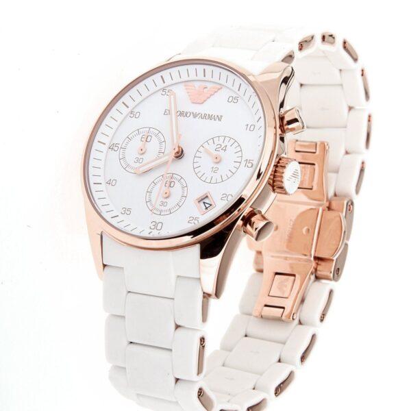 Réplica de relógio Armani Sport Borrachado – Branco/Dourado