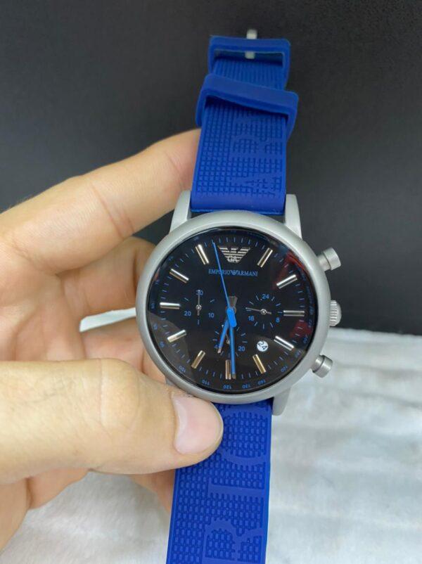 Réplica de relógio Armani Borrachado – Azul/Prata