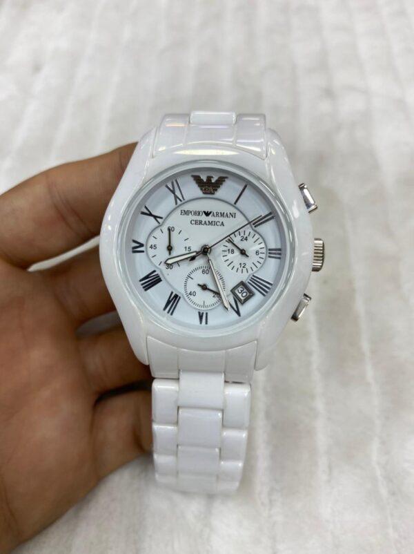 Réplica de relógio Armani Cerâmica – Branco/Prata