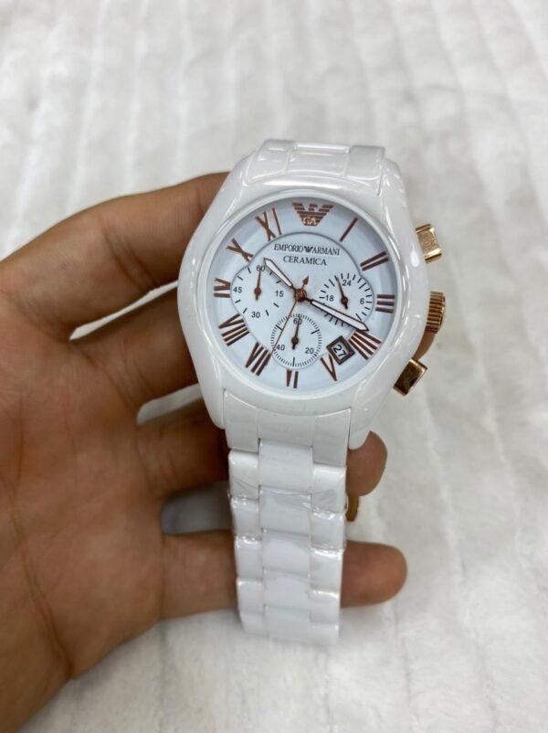 Réplica de relógio Armani Cerâmica – Branco/Dourado