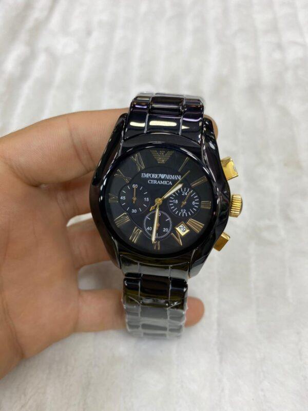 Réplica de relógio Armani Cerâmica – Preto/Dourado