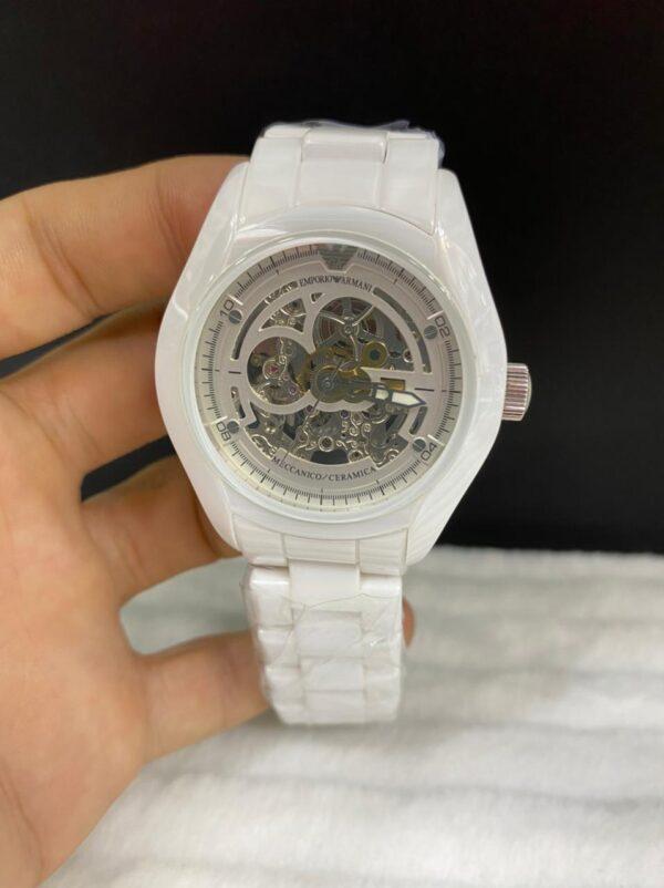 Réplica de relógio Armani Cerâmica Eskeleto – Branco
