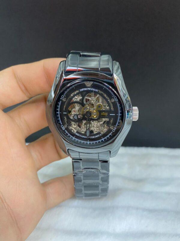 Réplica de relógio Armani Cerâmica Eskeleto – Prata