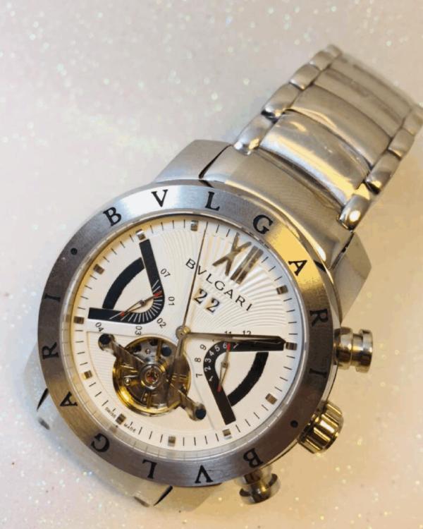 Réplica de relógio Bvlgari Automático Aço – Prata/Branco