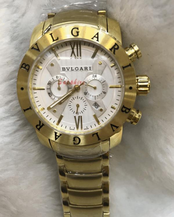 Réplica de relógio Bvlgari Bateria Aço -Dourado/Branco