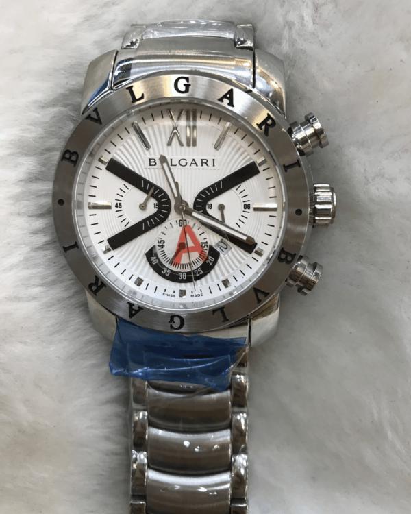 Réplica de relógio Bvlgari Bateria Aço -Prata/Branco