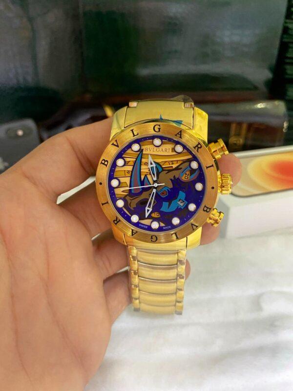 Réplica de relógio Bvlgari BV – Dourado/Azul