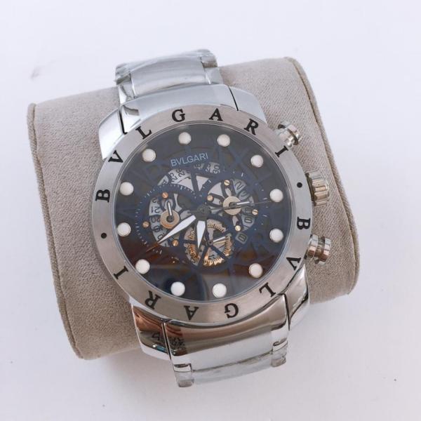 Réplica de relógio Bvlgari Eskeleton com Safira – Prata/Preto