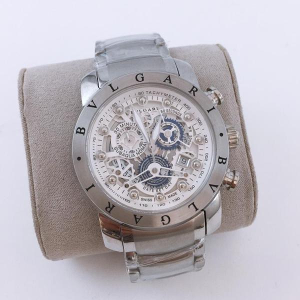 Réplica de relógio Bvlgari Eskeleton com Safira – Prata/Branco