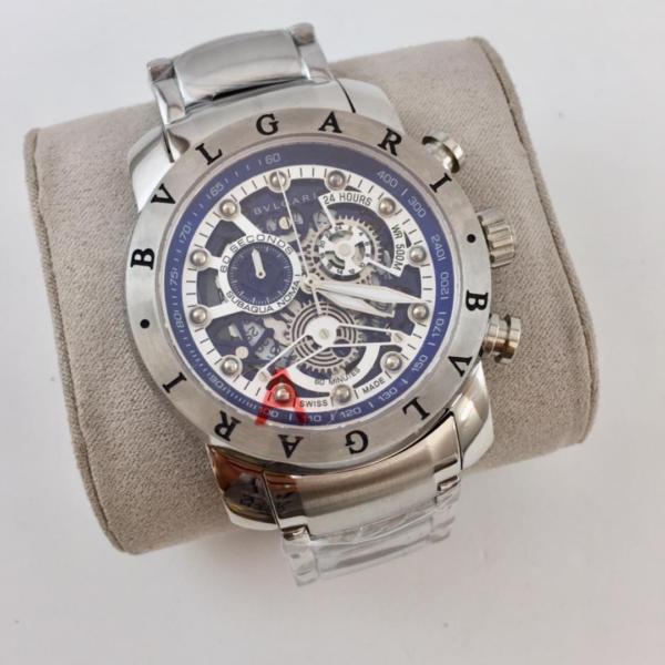 Réplica de relógio Bvlgari Eskeleton com Safira – Prata/Azul