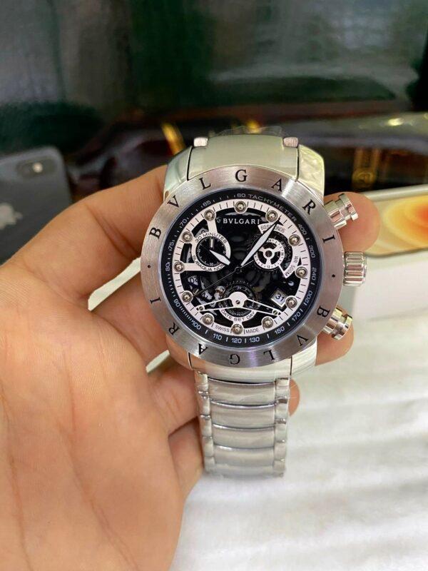 Réplica de relógio Bvlgari Eskeleton com Safira – Prata/Preto/Branco