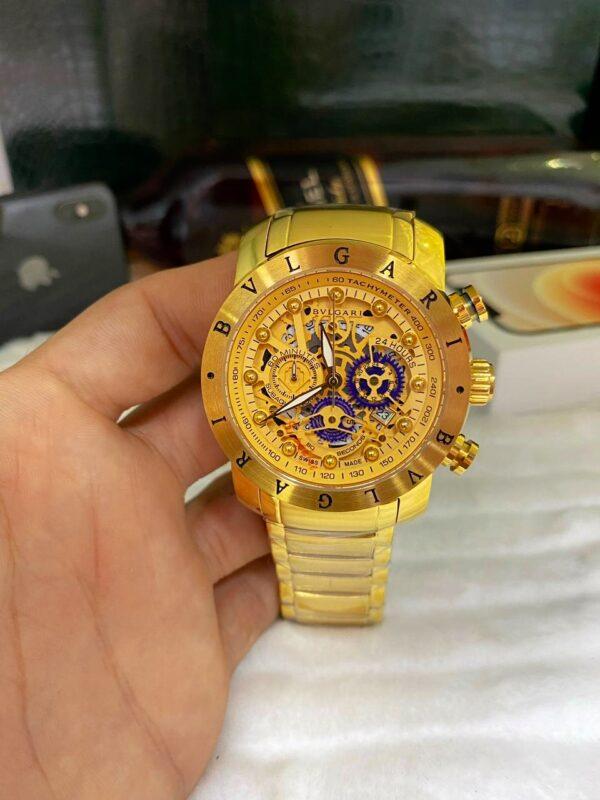 Réplica de relógio Bvlgari Eskeleton com Safira – Dourado