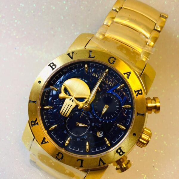 Réplica de relógio Bvlgari Justiceiro – Dourado/Azul