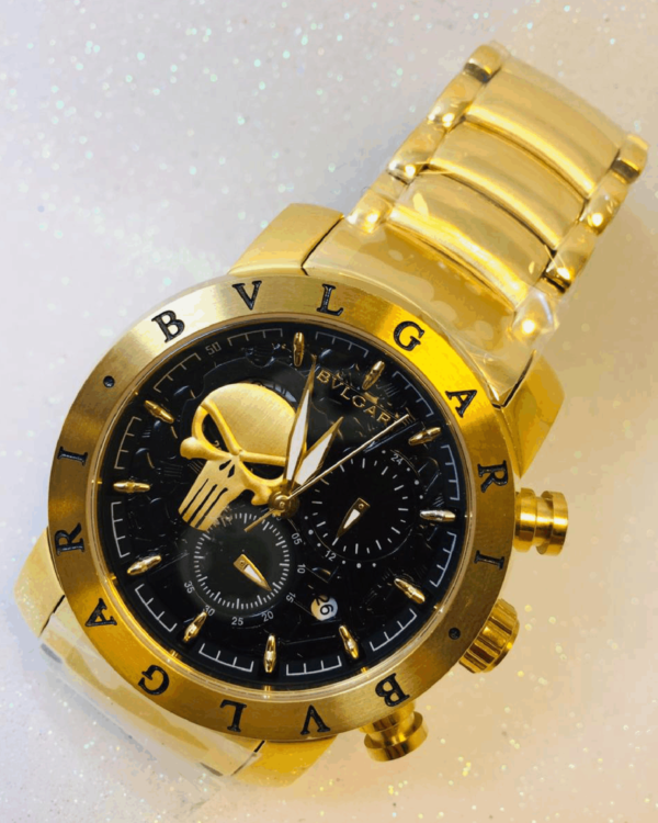 Réplica de relógio Bvlgari Justiceiro – Dourado/Preto