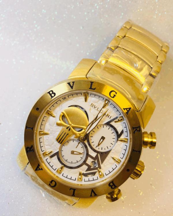 Réplica de relógio Bvlgari Justiceiro – Dourado/Branco