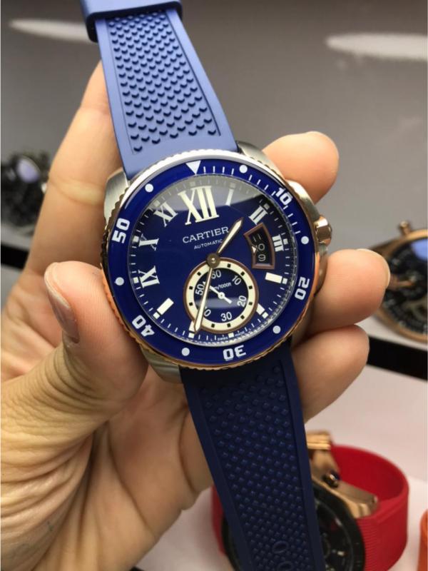 Réplica de relógio Cartier Borracha – Azul