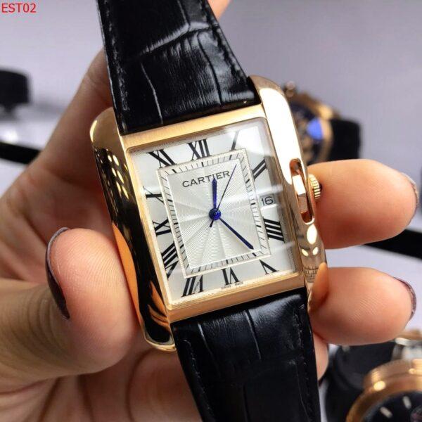 Réplica de relógio Cartier Quadrado Couro – Preto
