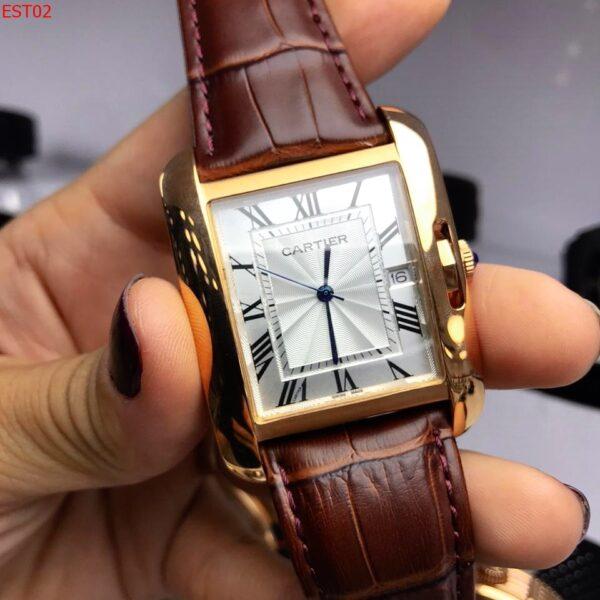 Réplica de relógio Cartier Quadrado Couro – Marrom/Dourado