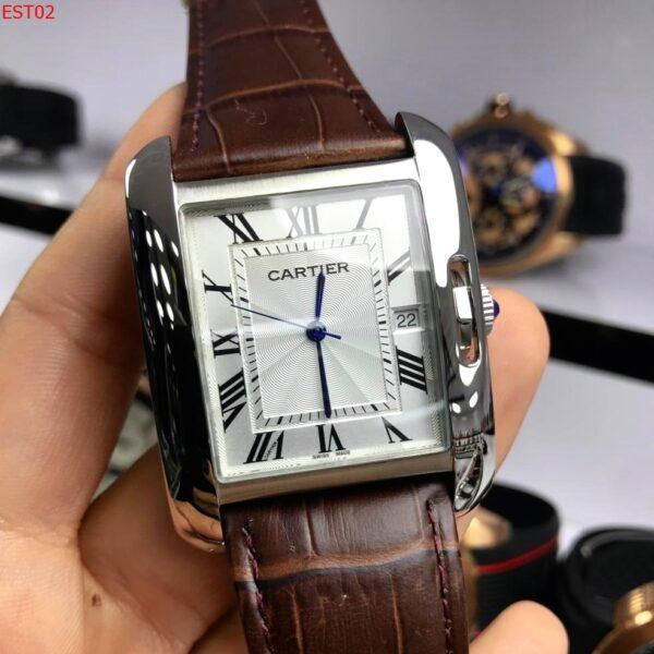 Réplica de relógio Cartier Quadrado Couro – Marrom/Prata
