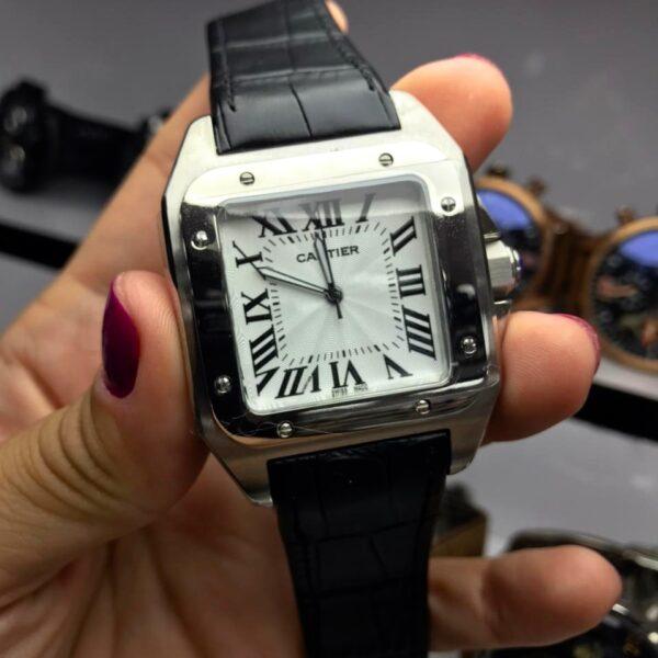 Réplica de relógio Cartier Quadrado Couro 38mm – Preto/Prata