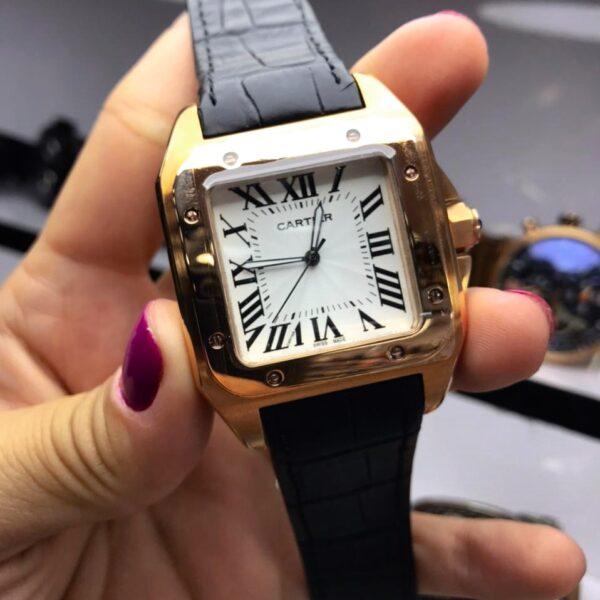 Réplica de relógio Cartier Quadrado Couro 38mm – Preto/Dourado
