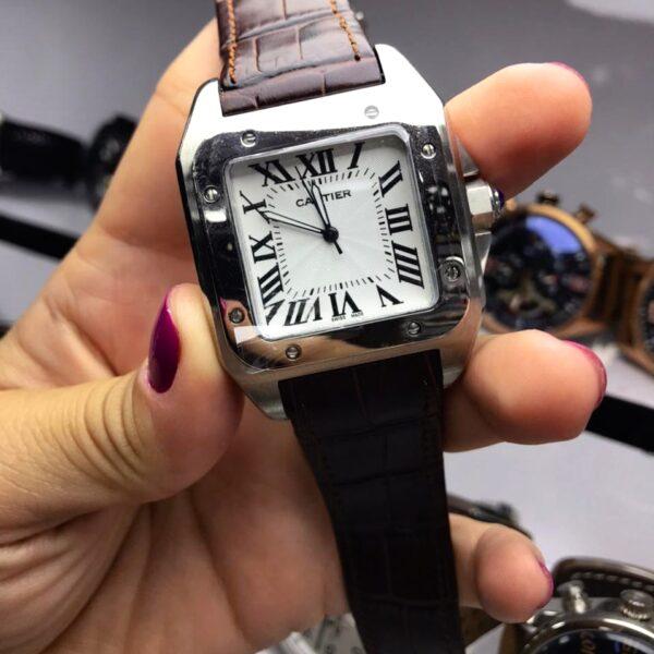 Réplica de relógio Cartier Quadrado Couro 38mm – Marrom/Prata