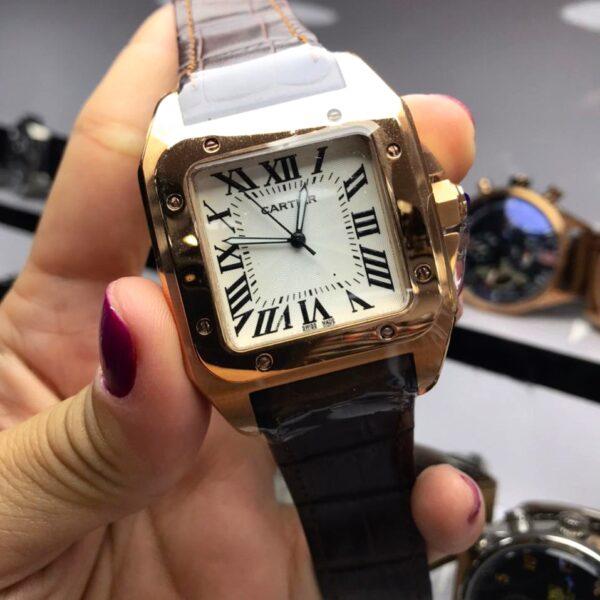 Réplica de relógio Cartier Quadrado Couro 38mm – Marrom/Dourado
