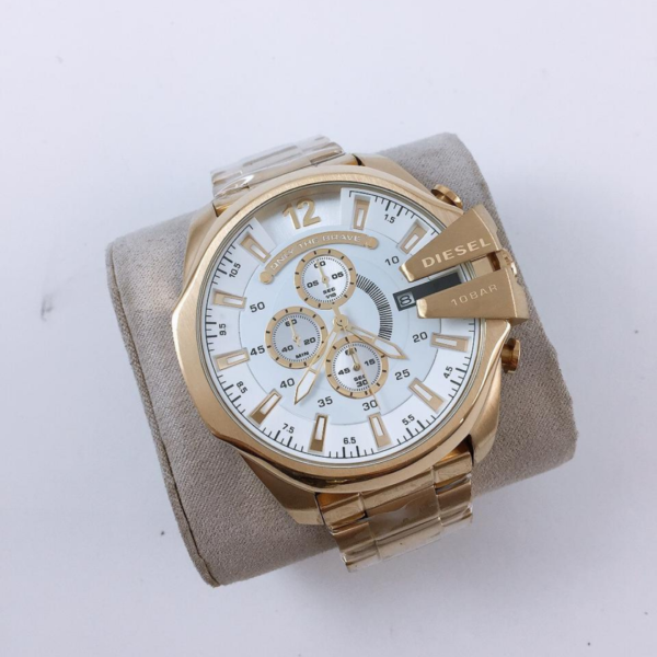 Réplica de relógio Diesel 10 Bar – Dourado/Branco