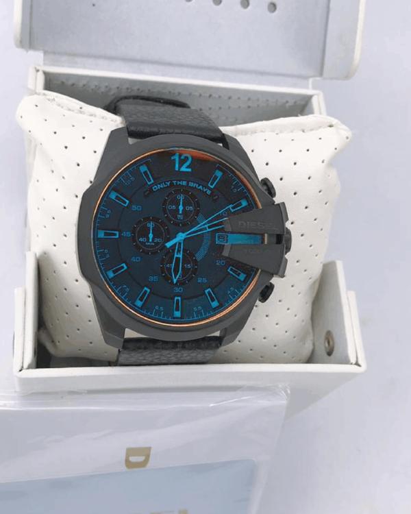 Réplica de relógio Diesel 10 Bar Couro- Cinza/Azul