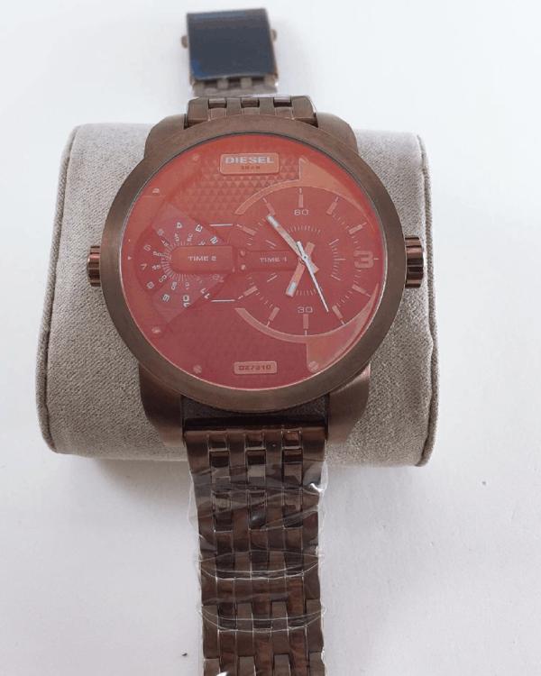 Réplica de relógio Diesel 3 Bar – Marrom/Vermelho