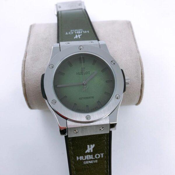 Réplica de relógio Hublot Geneve Couro – Verde/Prata