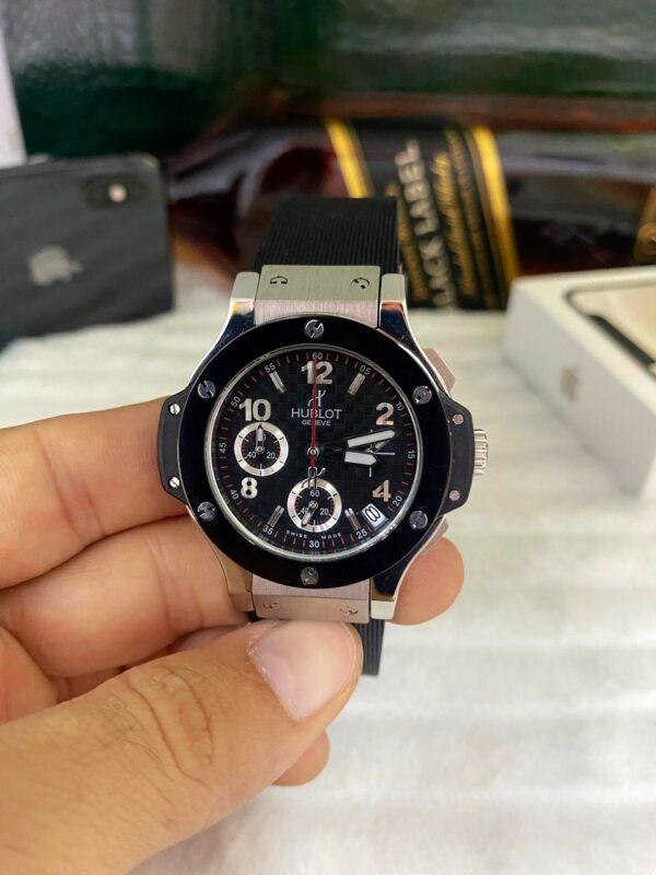Réplica de relógio Hublot Geneve Crono – Preto/Prata