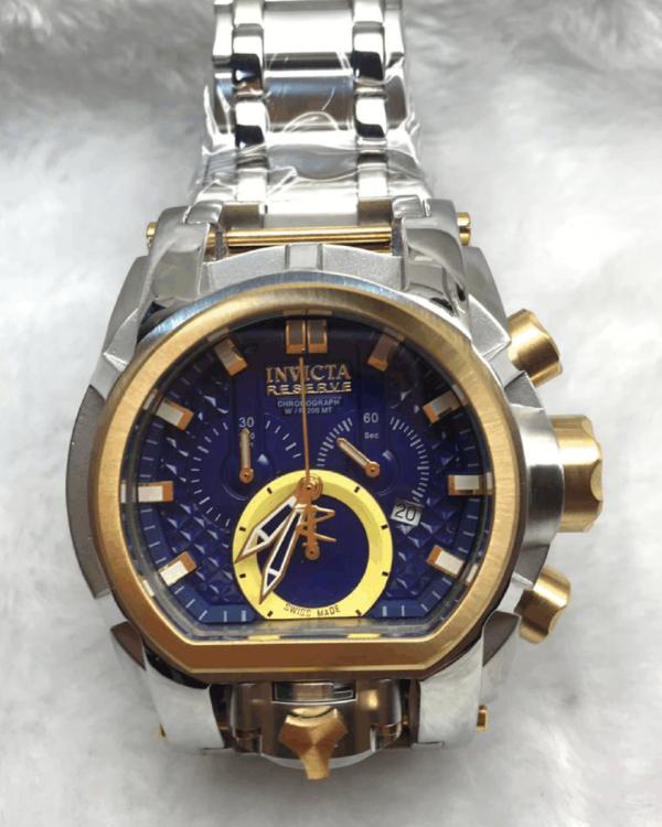 Réplica de relógio Invicta Zeus Magno – Prata/Dourado/Azul