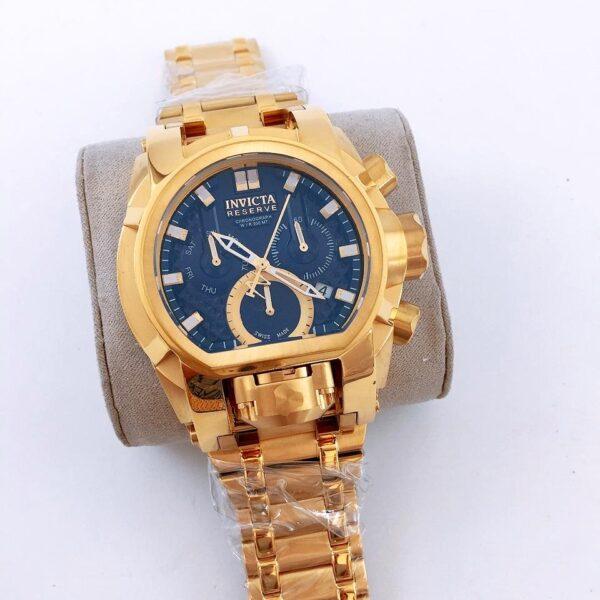 Réplica de relógio Invicta Zeus Magno – Dourado/Azul