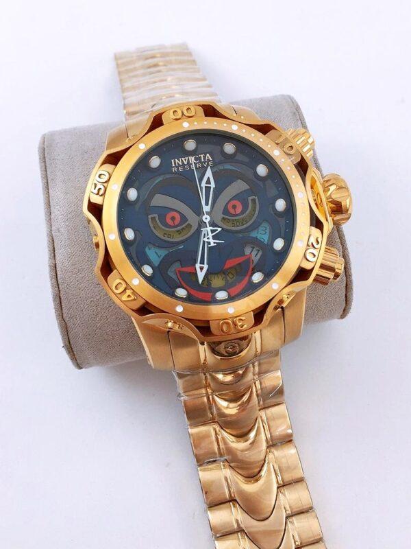 Réplica de relógio Invicta Coringa – Dourado/Azul