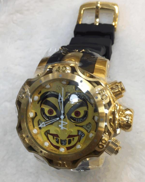 Réplica de relógio Invicta Coringa Borracha – Dourado/Amarelo