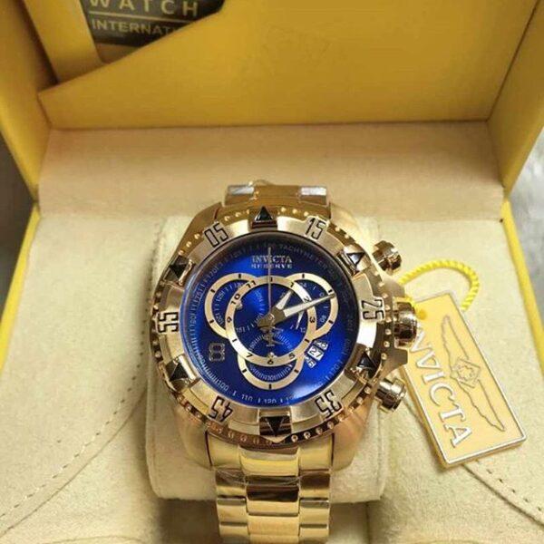 Réplica de relógio Invicta Excursion Aço – Dourado/Azul