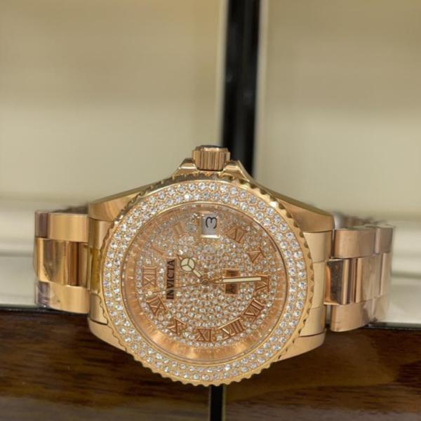 Réplica de relógio Invicta Angel Feminino – Dourado/Prata