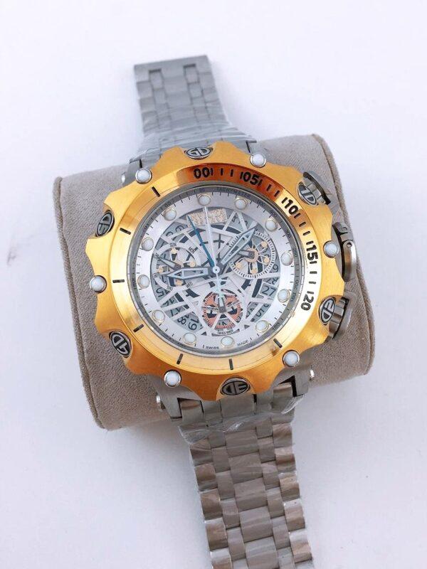 Réplica de relógio Invicta Hibrid Esqueleto – Prata/Branco