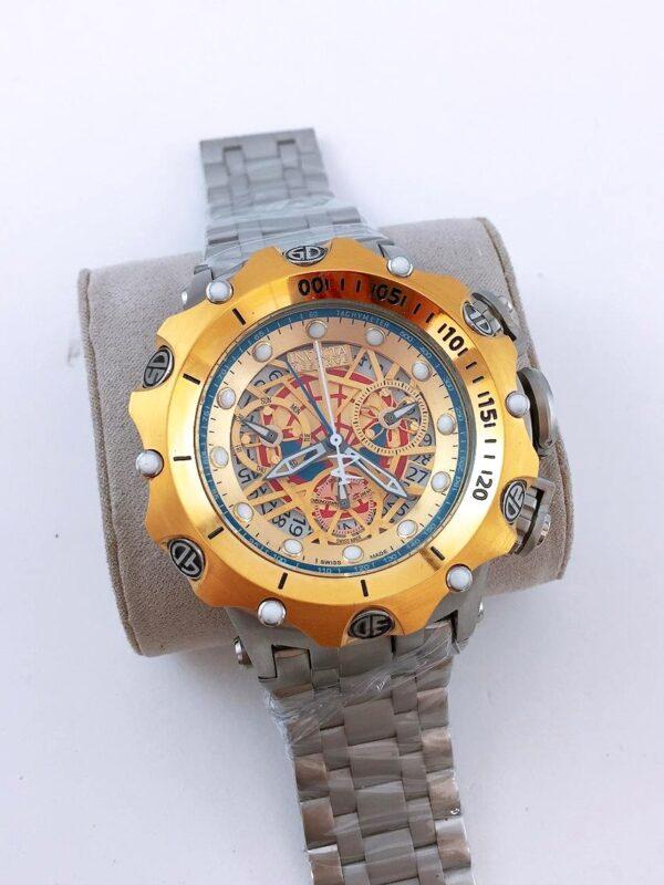 Réplica de relógio Invicta Hibrid Esqueleto – Prata/Dourado